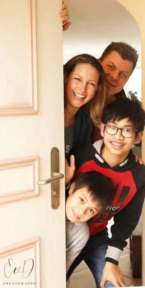LeFeuvre family behind door